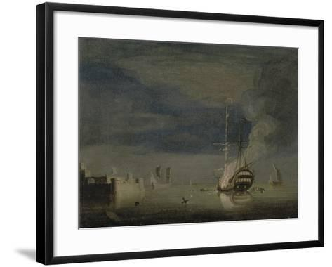 A Two-Decker on Fire at Night Off a Fort, C.1740-Charles Brooking-Framed Art Print