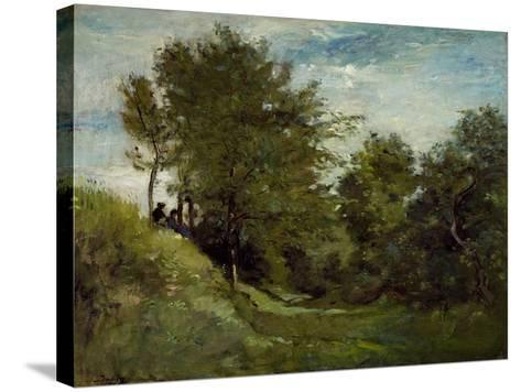 Landscape with Figures Seated on a Bank, Late 1870S-Charles Francois Daubigny-Stretched Canvas Print