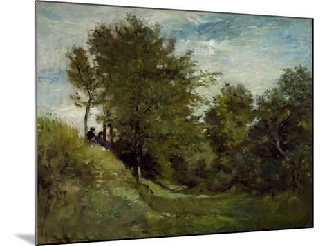 Landscape with Figures Seated on a Bank, Late 1870S-Charles Francois Daubigny-Mounted Giclee Print