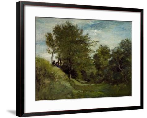 Landscape with Figures Seated on a Bank, Late 1870S-Charles Francois Daubigny-Framed Art Print