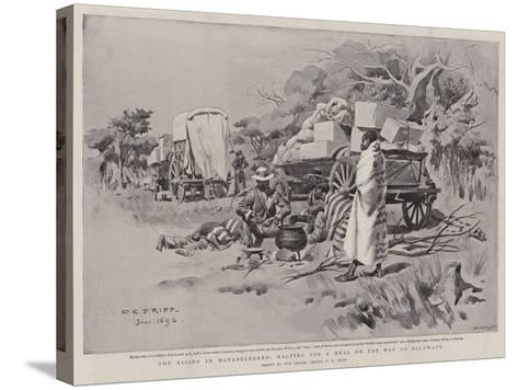 The Rising in Matabeleland, Halting for a Meal on the Way to Buluwayo-Charles Edwin Fripp-Stretched Canvas Print