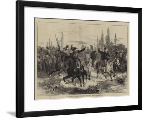Fugitives from Woerth Riding into Hagenau-Charles Green-Framed Art Print