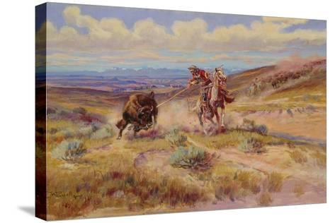 Spearing a Buffalo, 1925-Charles Marion Russell-Stretched Canvas Print