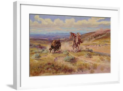 Spearing a Buffalo, 1925-Charles Marion Russell-Framed Art Print