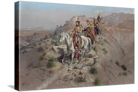 On the Warpath, 1895-Charles Marion Russell-Stretched Canvas Print