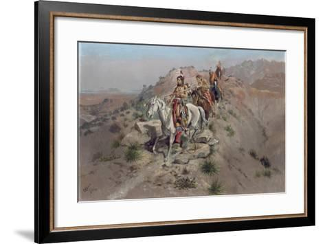 On the Warpath, 1895-Charles Marion Russell-Framed Art Print