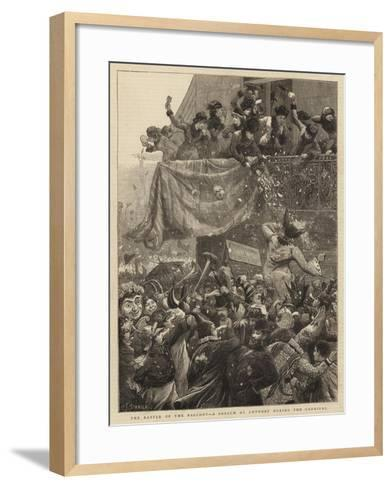 The Battle of the Balcony, a Sketch at Antwerp During the Carnival-Charles Joseph Staniland-Framed Art Print