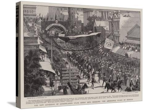 The New Governor of Queensland's State Entry into Brisbane, the Aboriginal Guard of Honour-Charles Joseph Staniland-Stretched Canvas Print