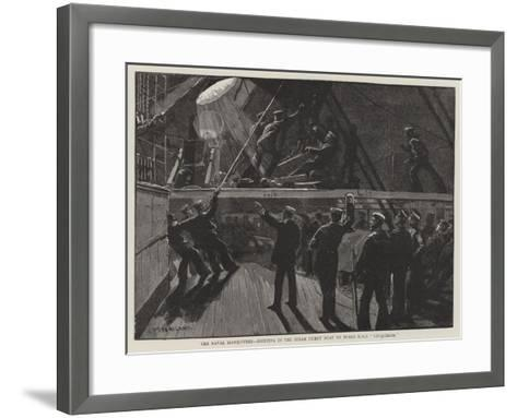 The Naval Manoeuvres, Hoisting in the Steam Picket Boat on Board HMS Conqueror-Charles Joseph Staniland-Framed Art Print