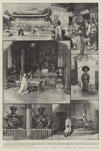The Outrages on Missionaries in China, Scenes in Foochow and Kucheng Districts-Charles Joseph Staniland-Stretched Canvas Print