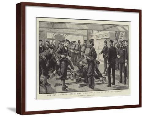 The Naval Manoeuvres, Arming a Landing Party on HMS Conqueror-Charles Joseph Staniland-Framed Art Print