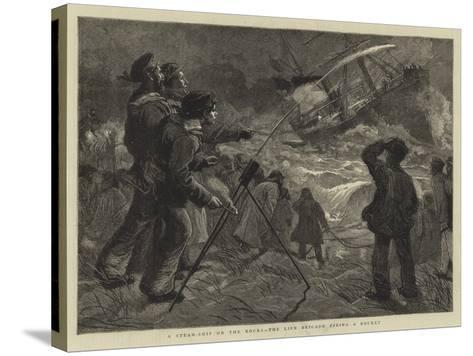 A Steam-Ship on the Rocks, the Life Brigade Firing a Rocket-Charles Joseph Staniland-Stretched Canvas Print