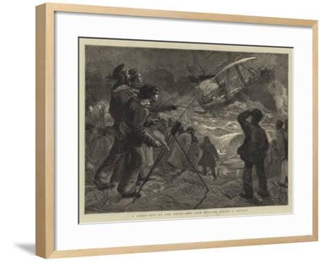 A Steam-Ship on the Rocks, the Life Brigade Firing a Rocket-Charles Joseph Staniland-Framed Art Print
