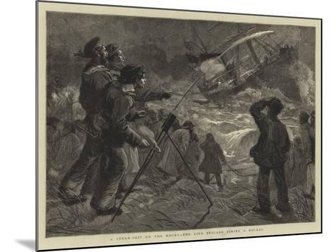 A Steam-Ship on the Rocks, the Life Brigade Firing a Rocket-Charles Joseph Staniland-Mounted Giclee Print