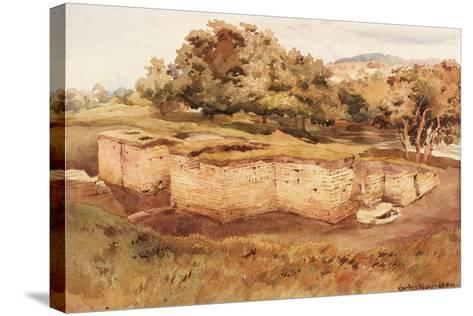 The Roman Baths, Chesters, North Tyne (West View) (Bodycolour on Paper)-Charles Richardson-Stretched Canvas Print