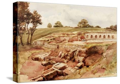 The Roman Baths, Chesters, North Tyne (North View) (Bodycolour, Pencil and W/C on Paper)-Charles Richardson-Stretched Canvas Print