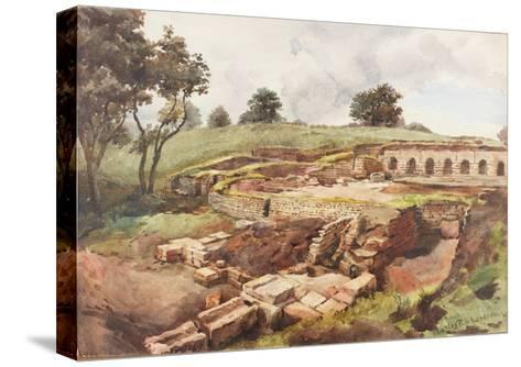 Bath House at Chesters from the North East (Bodycolour, Pencil and W/C on Paper)-Charles Richardson-Stretched Canvas Print