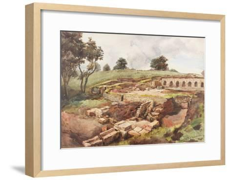 Bath House at Chesters from the North East (Bodycolour, Pencil and W/C on Paper)-Charles Richardson-Framed Art Print