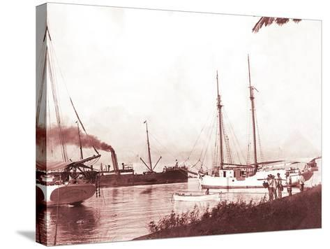 Papeetee Harbor, 1870s, Tahiti, Late 1800s-Charles Gustave Spitz-Stretched Canvas Print