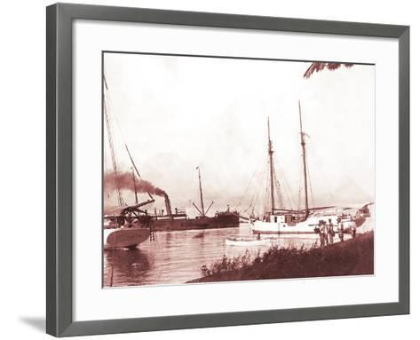 Papeetee Harbor, 1870s, Tahiti, Late 1800s-Charles Gustave Spitz-Framed Art Print