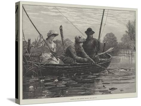Fishing on the Norfolk Broads-Charles Joseph Staniland-Stretched Canvas Print