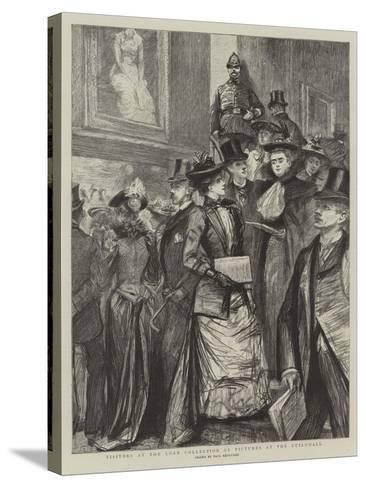 Visitors at the Loan Collection of Pictures at the Guildhall-Charles Paul Renouard-Stretched Canvas Print