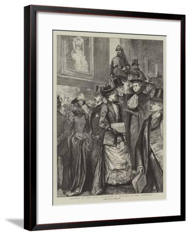 Visitors at the Loan Collection of Pictures at the Guildhall-Charles Paul Renouard-Framed Art Print