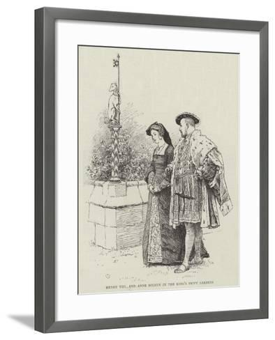 Henry VIII and Anne Boleyn in the King's Privy Gardens-Charles Green-Framed Art Print