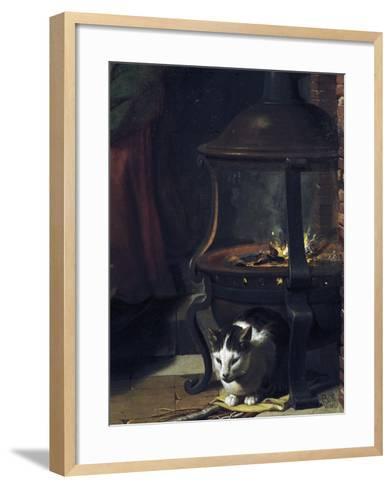 Cat under Burning Brazier, Detail from Infant Jesus Sleeping-Charles Le Brun-Framed Art Print
