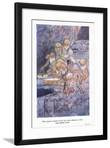 The Dwarfs Seated at Her Feet Were Playing to Her Very Simple Tunes-Charles Robinson-Framed Art Print