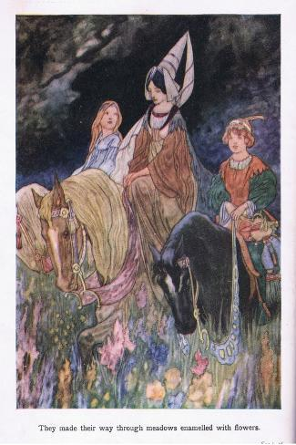 They Made their Way Through Meadows Enamelled with Flowers-Charles Robinson-Stretched Canvas Print