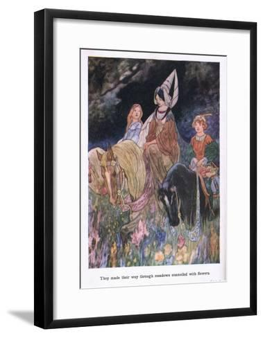 They Made their Way Through Meadows Enamelled with Flowers-Charles Robinson-Framed Art Print