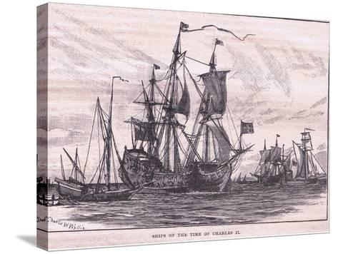 Ships of the Time of Charles II-Charles William Wyllie-Stretched Canvas Print