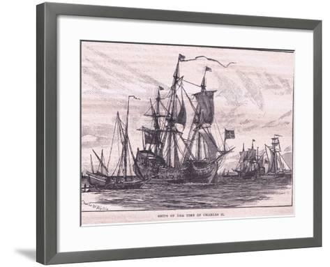 Ships of the Time of Charles II-Charles William Wyllie-Framed Art Print