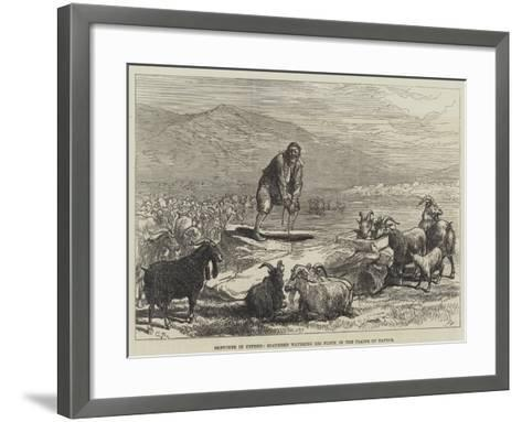 Sketches in Cyprus, Goatherd Watering His Flock in the Plains of Paphos-Charles Robinson-Framed Art Print