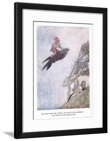 The Dwarf Drew the Bridle in the Mouth of the Blackbird and Fixed His Round Eyes on Her-Charles Robinson-Framed Art Print
