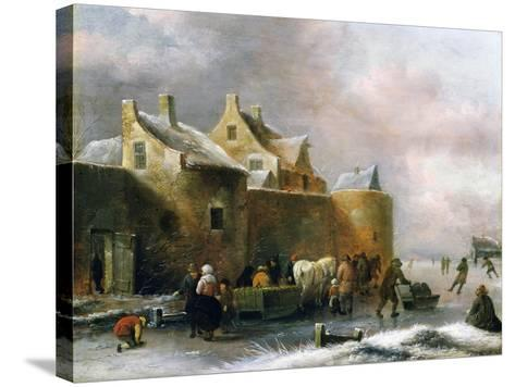 A Winter Landscape with Numerous Figures on a Frozen River Outside the Town Walls-Claes Molenaer-Stretched Canvas Print