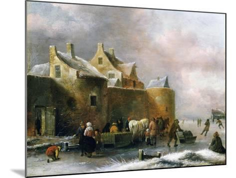 A Winter Landscape with Numerous Figures on a Frozen River Outside the Town Walls-Claes Molenaer-Mounted Giclee Print