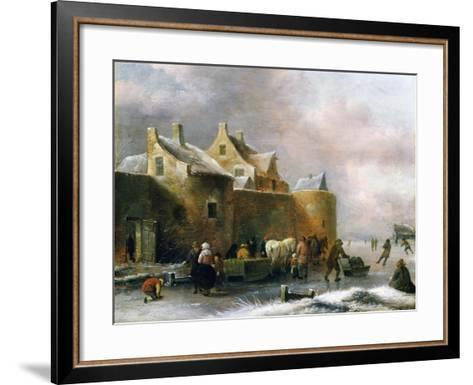 A Winter Landscape with Numerous Figures on a Frozen River Outside the Town Walls-Claes Molenaer-Framed Art Print