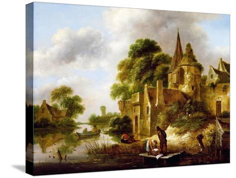 River Landscape with Peasants Near a Castle-Claes Molenaer-Stretched Canvas Print