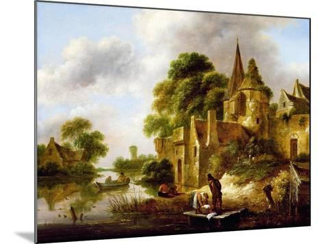 River Landscape with Peasants Near a Castle-Claes Molenaer-Mounted Giclee Print