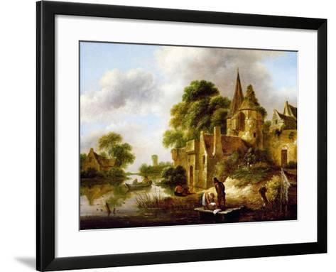 River Landscape with Peasants Near a Castle-Claes Molenaer-Framed Art Print