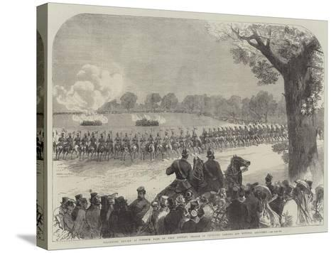 Volunteer Review in Windsor Park on Whit Monday, Charge of Yeomanry Lancers and Mounted Artillery-Charles Robinson-Stretched Canvas Print