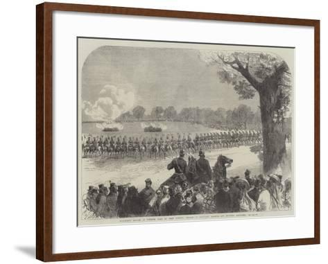 Volunteer Review in Windsor Park on Whit Monday, Charge of Yeomanry Lancers and Mounted Artillery-Charles Robinson-Framed Art Print