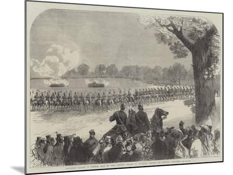 Volunteer Review in Windsor Park on Whit Monday, Charge of Yeomanry Lancers and Mounted Artillery-Charles Robinson-Mounted Giclee Print