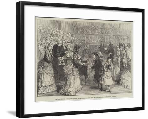Princess Louise Giving the Prizes of the Royal Society for the Prevention of Cruelty to Animals-Charles Robinson-Framed Art Print