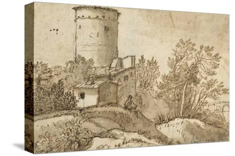 Farm Buildings by the Tiber-Claude Lorraine-Stretched Canvas Print