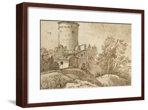 Farm Buildings by the Tiber-Claude Lorraine-Framed Art Print