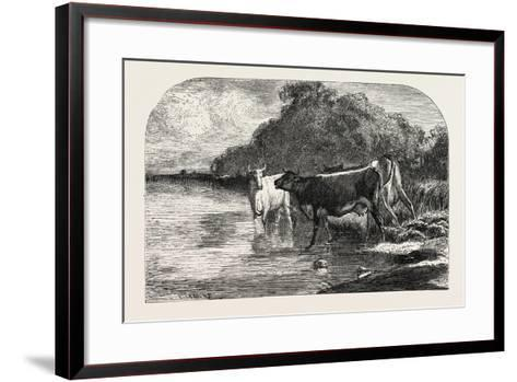 Cows at the Watering Hole, 1855-Constant-emile Troyon-Framed Art Print