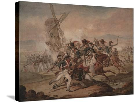 7th Queen's Own Hussars under Sir Edward Kerrison, Charging the French at Quatre Bras, 1818-Denis Dighton-Stretched Canvas Print